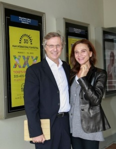 Lasse Hallstrom and wife Lena Olin (Actrice in movie The Hypnotist)
