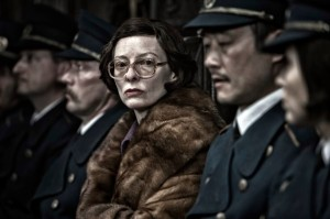 Tilda Swinton and officers in Snowpiercer