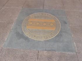 Ebert sidewalk Medallion. Photo by Hans Morgenstern
