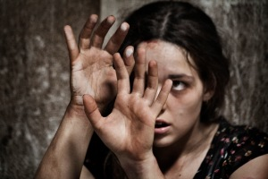 SALVO blind woman hands in front of face
